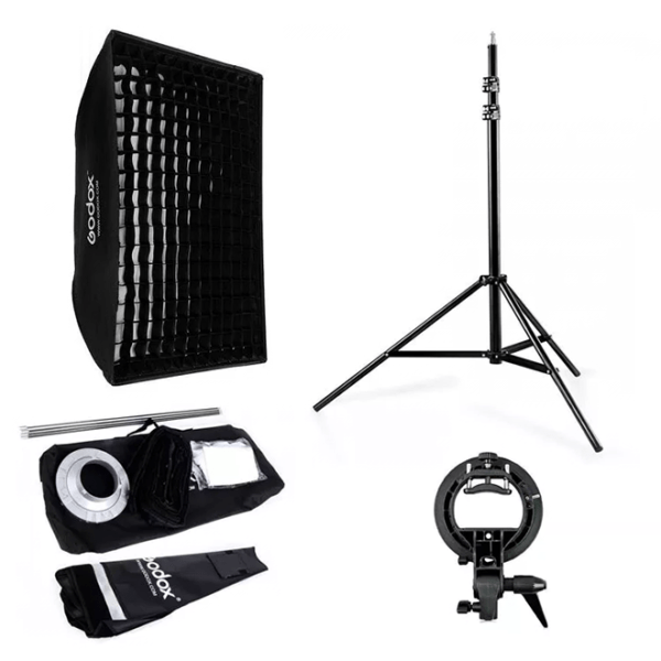 Kit Softbox Grid+Tripode + Bracket